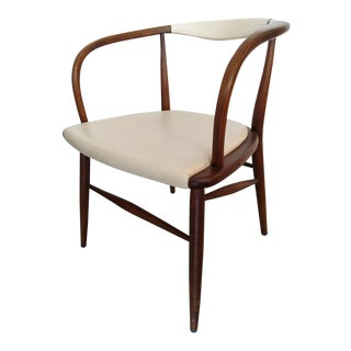 1950s Danish Modern Walnut Armchair For Sale