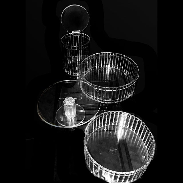 1990's Translucent Vertical Facet Cut Lucite Grainware Canister and Bowls - Lot of 3 For Sale - Image 10 of 13
