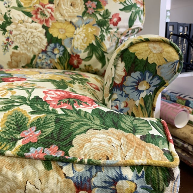 Floral Club Chair - New Upholstery (Vintage Fabric) For Sale - Image 6 of 13