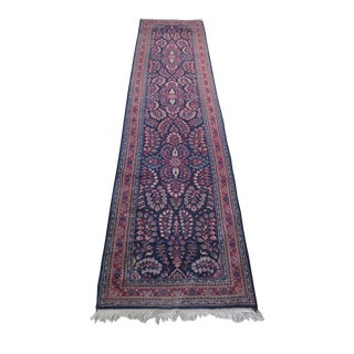 Blue Sarouk Wool Runner Rug - 3' x 12'