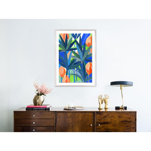 Contemporary Palm Cay 1 by Lulu DK in White Wash Framed Paper, Medium Art Print For Sale - Image 3 of 4