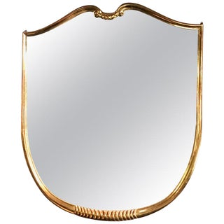 Mid-Century Italian Design Oversized Gold Leaves Wall Mirror, 1950s For Sale