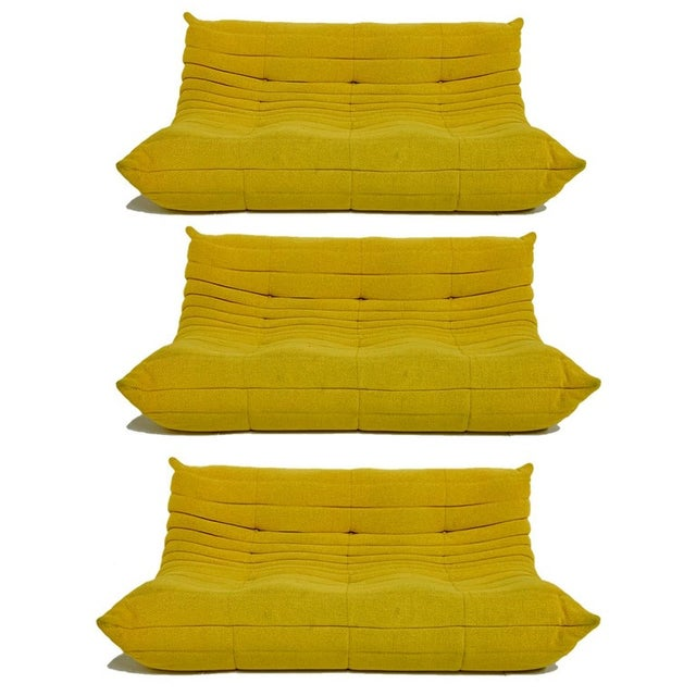 Michel Ducaroy for Ligne Roset Rare Yellow Toga Sofa / Large Settee 2 Available For Sale - Image 11 of 12