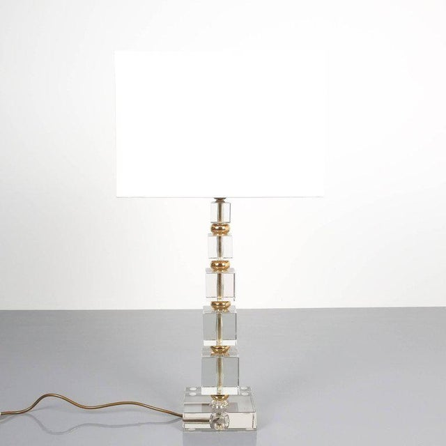Attributed to Bakalowits Sohne Glass Gold Brass Table Lamp, Austria, 1960 For Sale - Image 5 of 5
