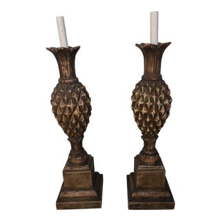1990s Large Thomas Morgan Silver Giltwood Pineapple Lamps - a Pair For Sale
