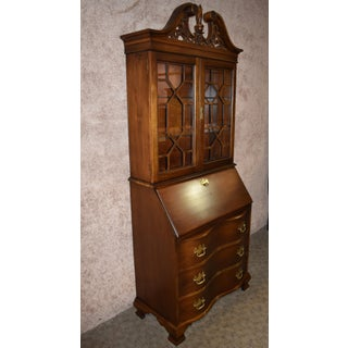 Traditional Jasper Style Secretary Desk with Carved Filigree Crest Preview