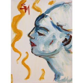 """""""Blue Profile"""" Contemporary Figurative Acrylic Painting by Sarah Myers For Sale"""
