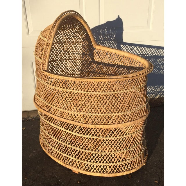 This precious vintage wicker bassinet is the perfect addition for any bohemian baby room. Wicker is in perfect vintage...