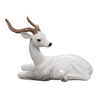 Mid 20th Century Italian Ceramic Recumbent Gazelle Sculpture For Sale