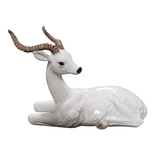 Mid 20th Century Italian Ceramic Recumbent Gazelle Sculpture For Sale