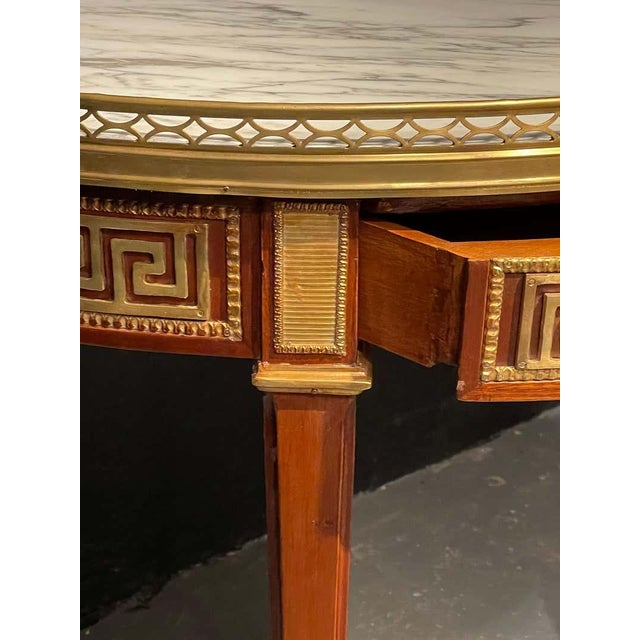 Stone Pair of Marble Top Greek Key Bouillotte or End Tables, Manner of Jansen For Sale - Image 7 of 11