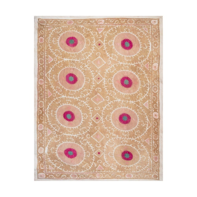 """Tribal Embroidery Wall Decor, Suzani Bedspread 8'2"""" X 11'6"""" For Sale - Image 13 of 13"""