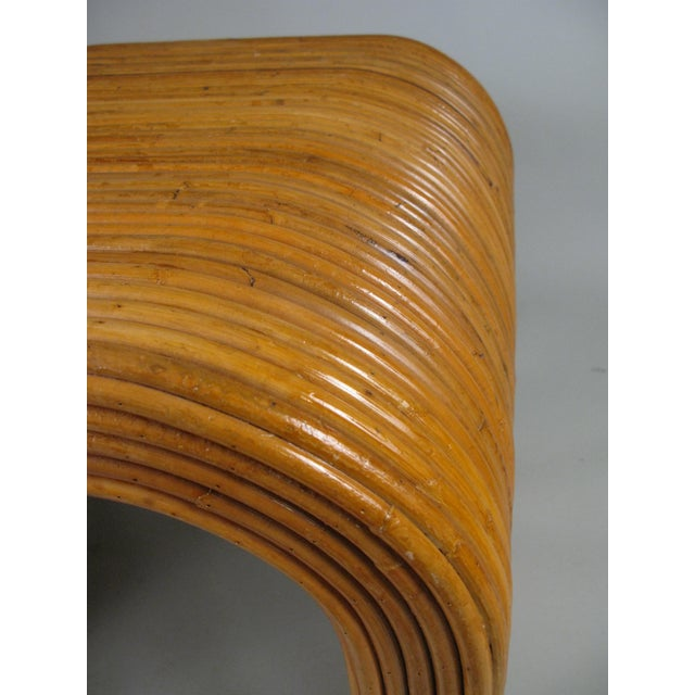 Wood 1970s Rattan Waterfall Tables - a Pair For Sale - Image 7 of 8