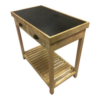 Wooden & Marble 2-Drawer Console Table