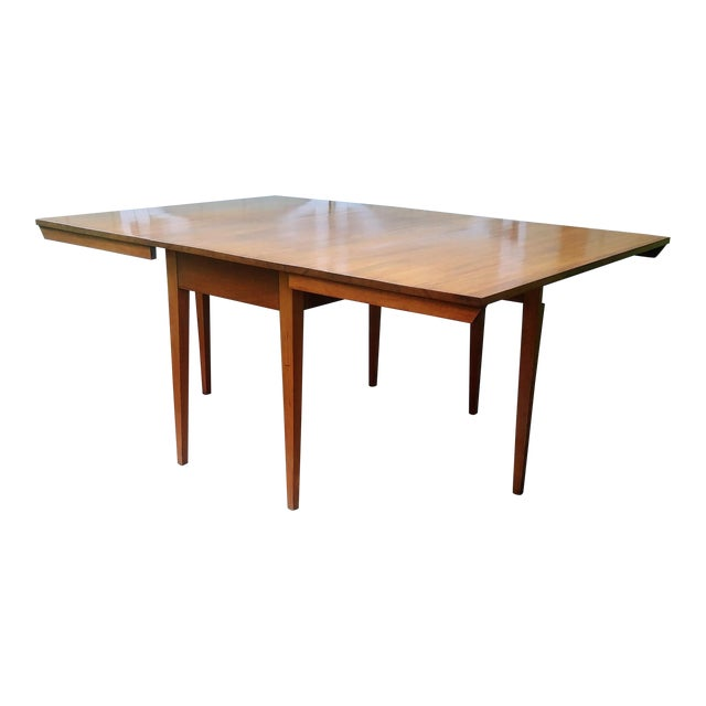 Vintage Mid-Century Modern Solid Pecan Shaker Style Drop Leaf Dining Table For Sale