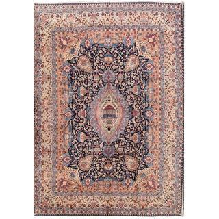 Mid Century Vintage Zazeh Persian Kashmar Rug- 9′6″ × 13′1″ For Sale