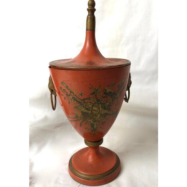 Hollywood Regency Italian Vintage, C.1950 Red Tole Lidded Urns, A-Set For Sale - Image 3 of 13