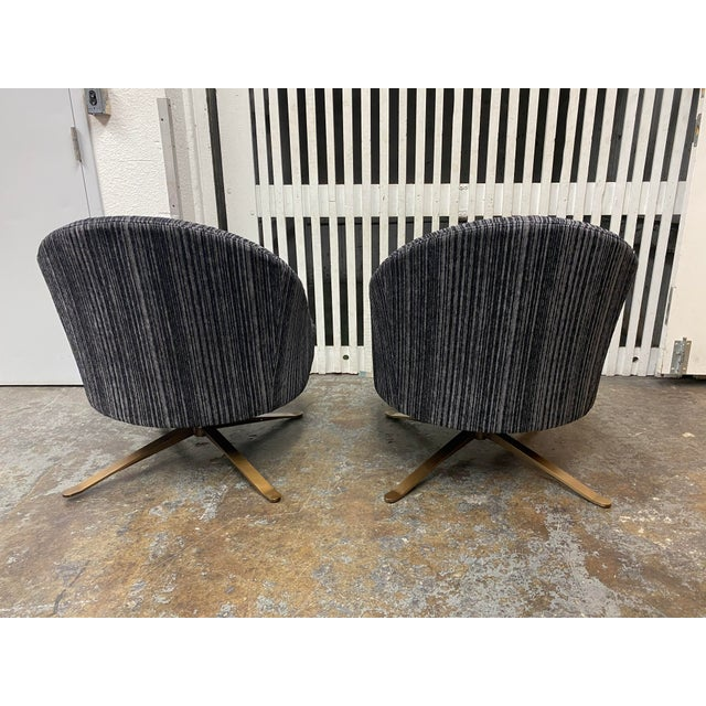 Brand New Lee Industries Swivel Chairs + Charcoal Larsen Fabric - a Pair For Sale In San Francisco - Image 6 of 10