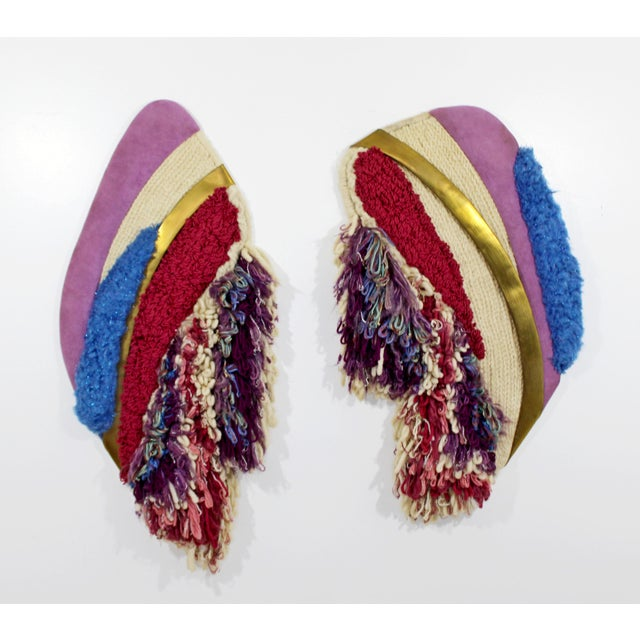 1980s Vintage Fowler Thelen Contemporary Modern Hanging Abstract Fiber Wall Art - a Pair For Sale - Image 10 of 10