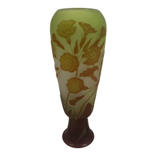 Early 20th Century Emile Galle French Cameo Art Glass Vase For Sale