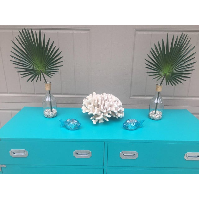 Wood Vintage Dixie Turquoise Painted Campaign Dresser For Sale - Image 7 of 10