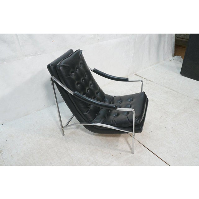 Mid-Century Modern Black Vinyl & Chrome Lounge Chair, Circa 1970 - Image 4 of 7