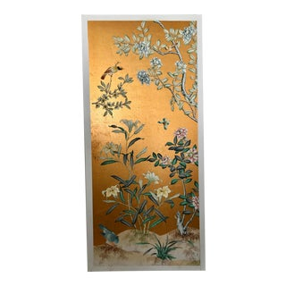 Chinoiserie Old Handpainted Wallpaper Panel Mounted on Foam Core For Sale
