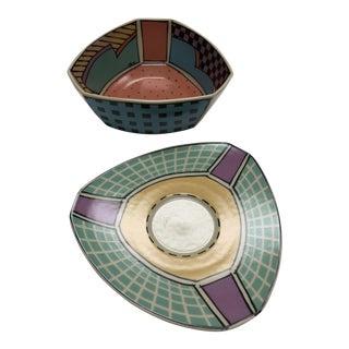 Memphis Style Bowl & Saucer - A Pair