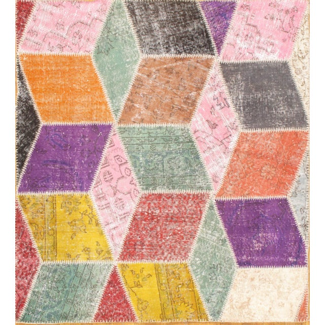 Contemporary Turkish Patchwork Rug - 5′2″ × 5′8″ For Sale - Image 3 of 3