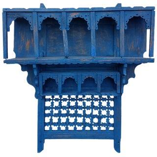 Moroccan Reclaimed Blue Wood Wall Shelf