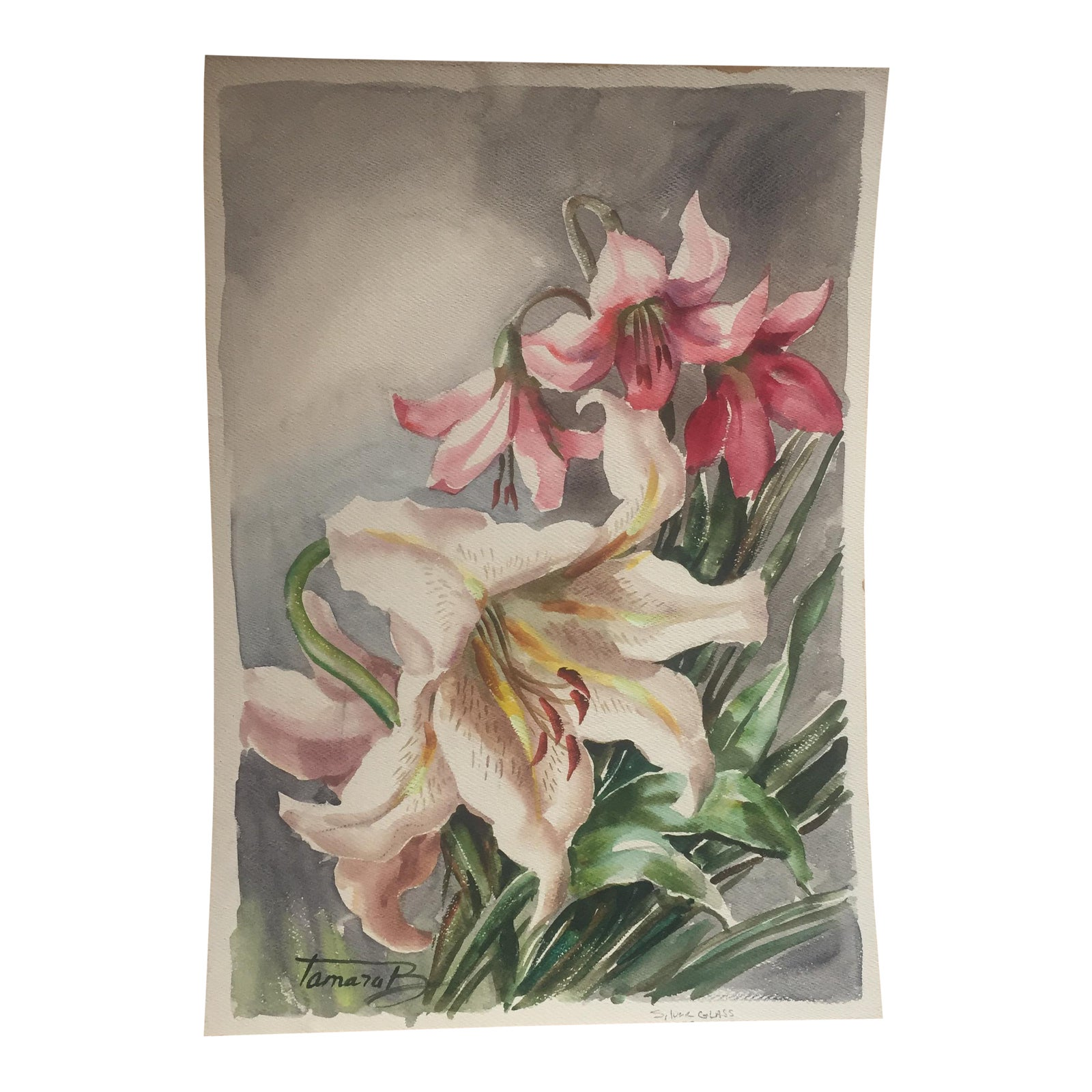 Original Vintage Watercolor Floral Lillies Painting Chairish