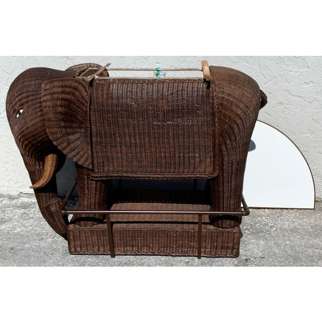 1960s Chinese Export Wicker Elephant Dry Bar For Sale - Image 11 of 13