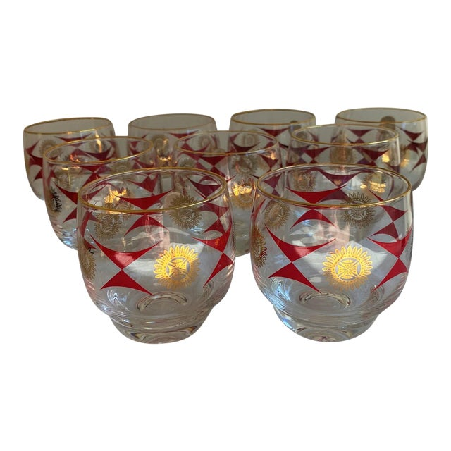 1960s Mid-Century Sasaki Roly Poly Tumbler Glasses - Set of 9 For Sale