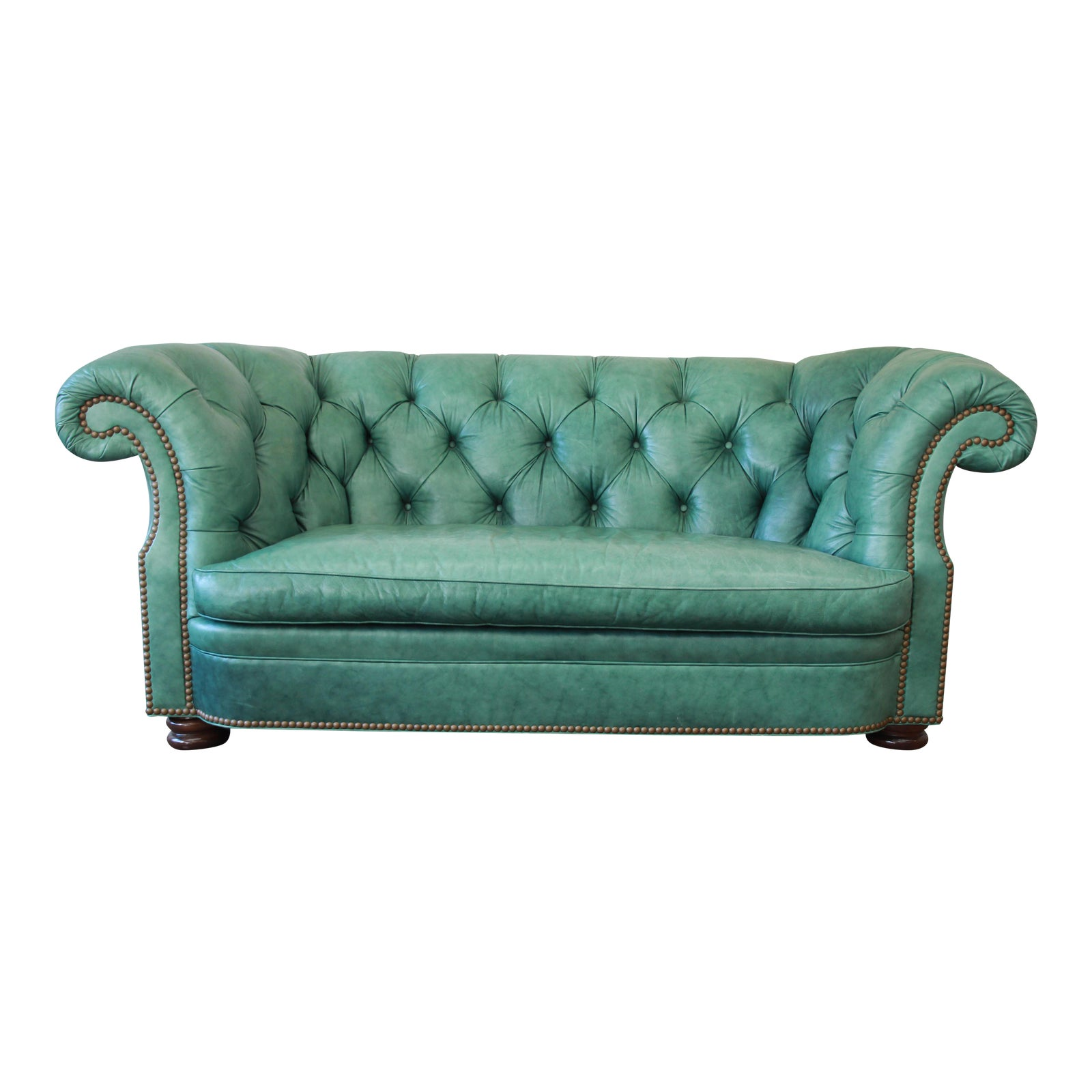 Superb Vintage Teal Tufted Leather Chesterfield Sofa By