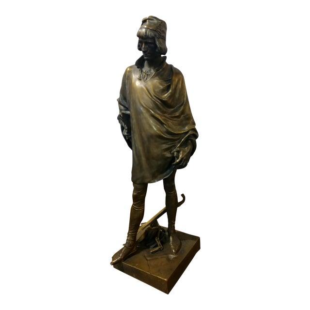 19th century Fabulous Bronze Sculpture of a Renaissance Artist -Signed Solid bronze sculpture For Sale