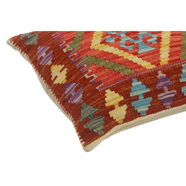 """Chelsie Red/Rust Hand-Woven Kilim Throw Pillow(18""""x18"""") For Sale - Image 4 of 6"""