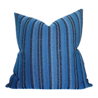 Majorelle Striped Pillow Cover in Black on Indigo For Sale