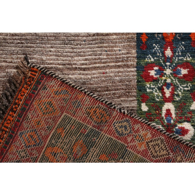 Late 20th Century Hand-Knotted Mid-Century Vintage Gabbeh Rug in Gray Red Tribal Geometric Pattern For Sale - Image 5 of 5