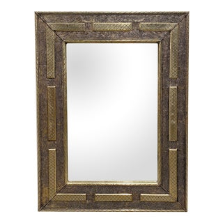 Moroccan Rectangular Silver Embossed Mirrorr For Sale