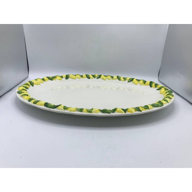 Mid 20th Century 1960s Italian Ceramic Serving Tray With Sculptural Lemon Motif Border For Sale - Image 5 of 10