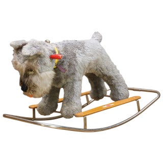 Blue Terrier Dog Childs Rocking Chair Giocattoli Trudi Italy Rocker Toy MCM Isle For Sale
