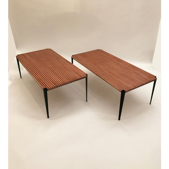 Mid-Century Modern Osvaldo Borsani Pair of Large Cocktail Tables in Two Toned Wood and Steel For Sale - Image 3 of 7