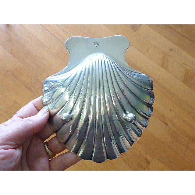 Tiffany and Co. Tiffany & Co Shell Seashell Sterling Silver Footed Bowl For Sale - Image 4 of 6
