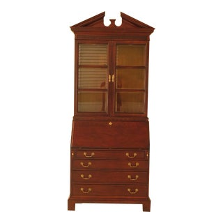 Century Mahogany Secretary Desk & Lighted Bookcase Top For Sale