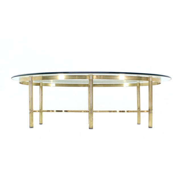 Early 20th Century Oval Brass and Glass Coffee Table For Sale - Image 5 of 7