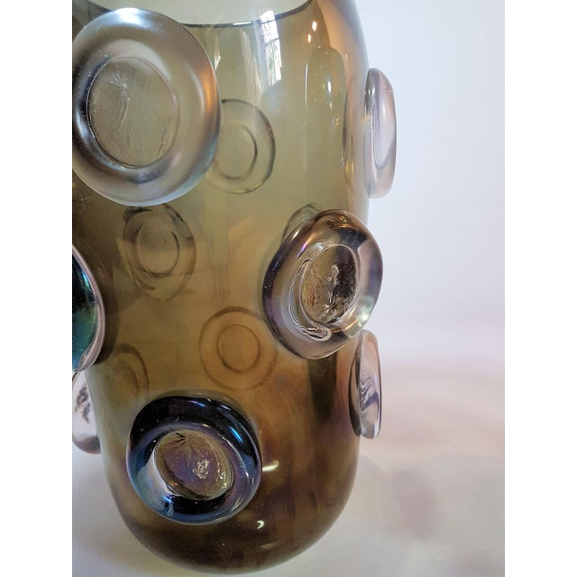 Large Mid Century Modern Brown & Purple Iridescent Vase, by Seguso 1970s For Sale In Boston - Image 6 of 8