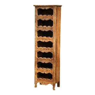 French Louis XV Carved Pine 28 Wine Bottles Holder Cabinet from Bordeaux