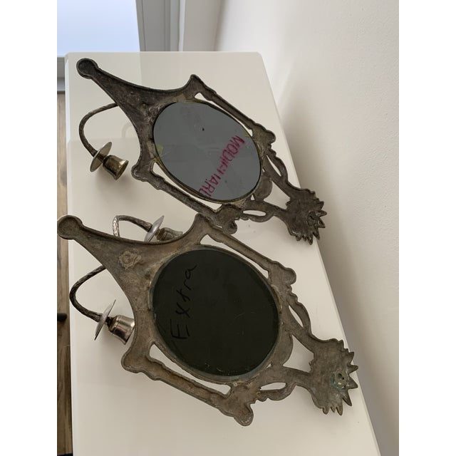 Metal Mirrored Candle Wall Sconces - a Pair For Sale - Image 7 of 8