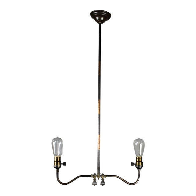 Industrial Converted Gas-Electric Double Pendant - Image 1 of 8
