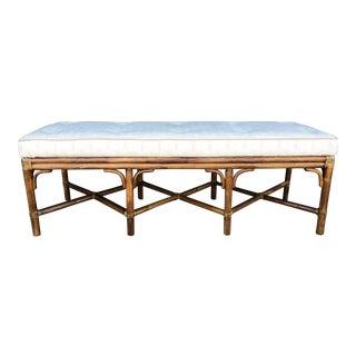 Vintage McGuire Upholstered Rattan Bench For Sale